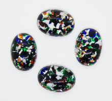 2 pieces) 18x13mm 1970s Glass Cabochons_Confetti Frit
