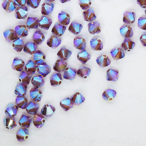 100) 4mm Swarovski Bicones Iris 2xAB Article #5328