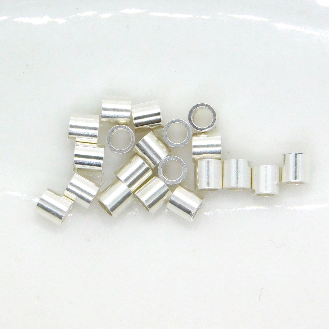20 pieces_2x2mm Sterling Silver Crimp Beads_Crimps_Jewelry Design_Precious Metal Findings