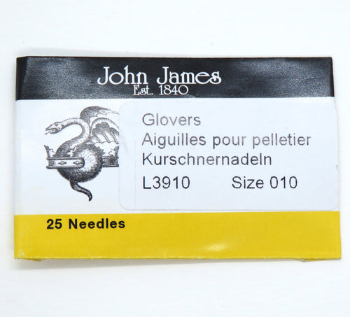 25 Pieces) Size 10 Glover's Needles John James_Leather Needles_Triangle Point