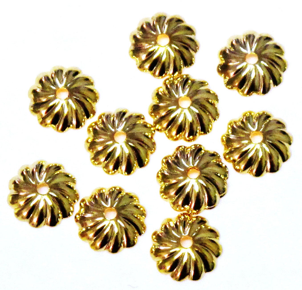 Pinwheel Bead Caps Gold 7mm 20pcs