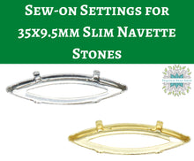 2 or 10 pieces) Sew on Settings for 35x9.5mm Slim Navette Stones_Gold or Rhodium