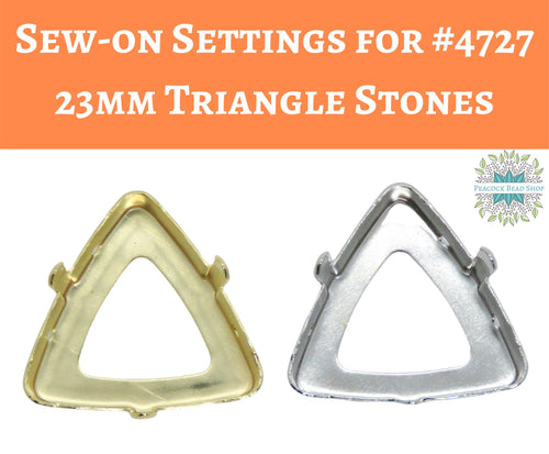 2 or 10 pieces) Sew on Settings for #4727 or 23mm Triangle Stones_Gold or Rhodium
