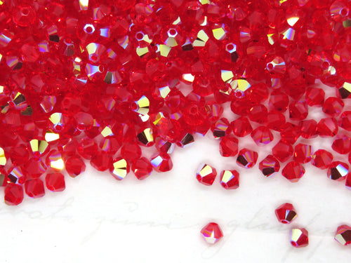 50 beads) 3mm Swarovski Bicones_Light Siam Red AB_Article 5328_Christmas Red