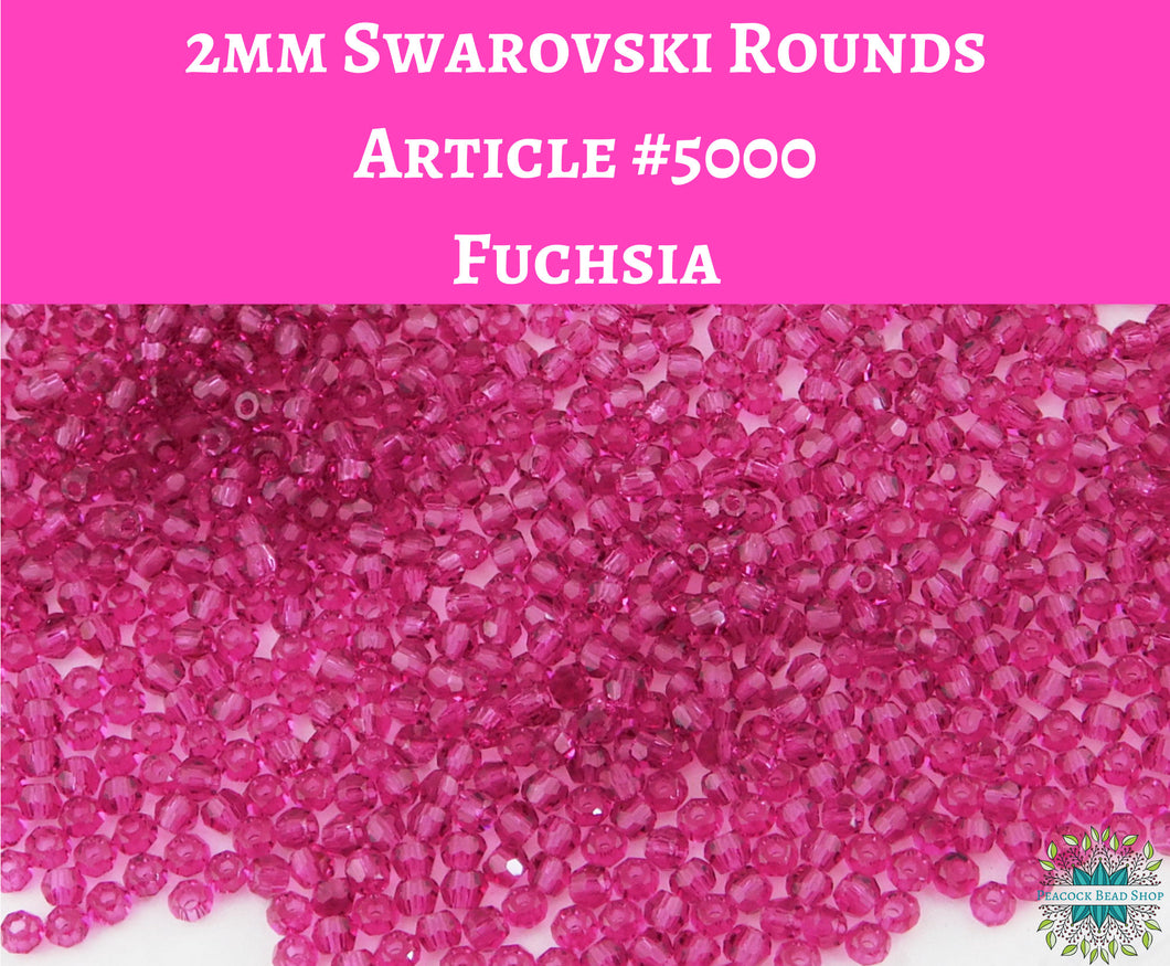 50 beads) 2mm Swarovski Crystal Rounds_Fuchsia_Article #5000