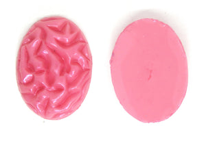 1) 25x18mm Pearlized Pink Resin Brain Cab_Hand Painted and Poured