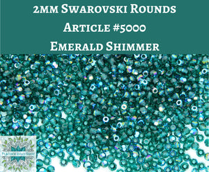 50 beads) 2mm Swarovski Crystal Rounds_Emerald Shimmer_Article #5000