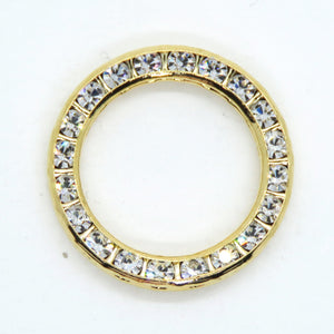 1 pc) 22mm Double-sided Vintage Swarovski Channel-set Round Link in Crystal Gold Plate