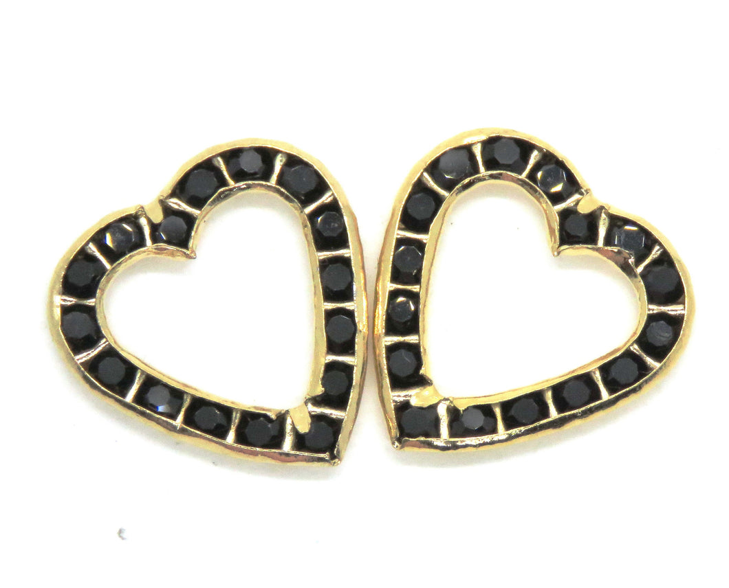 2 pcs) 17mm Vintage Swarovski Channel-set Heart Links in Jet Black and Gold