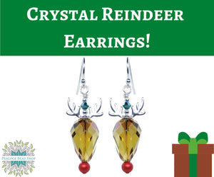 Finished Earrings_Silver Crystal Reindeer Earrings_ Sterling Silver_ Holiday Earring Kit_ Rudolph Earrings Kit