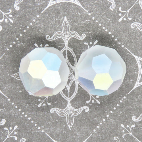 1 bead) 16mm Discontinued Preciosa Crystal Rounds_Matte Crystal AB_Bridal Jewelry