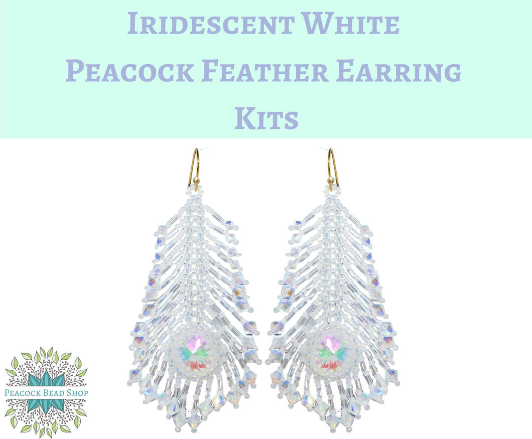 New Kit Color! Iridescent White Peacock Feather Earrings Kit_Full Kits or Beads Only