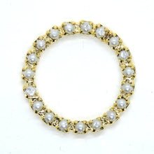 2 pcs) 22mm Vintage Swarovski Pearl Prong-set Donut Link in White Pearl and Gold