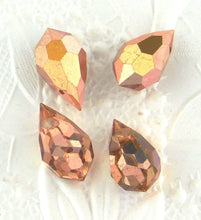 Vintage Preciosa Crystal Drops_9x15mm_Capri Gold_Rose Gold_2 beads_Top Drilled_Briolette_Drop Bead_Pendant_Charm_Wedding Jewelry Supplies