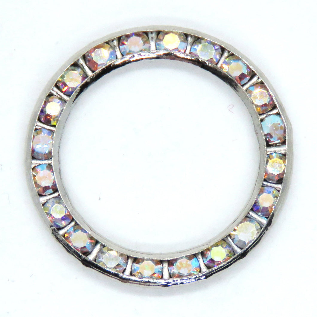 2 pcs) 22mm Vintage Swarovski Channel-set Round Link in Crystal AB Rhodium
