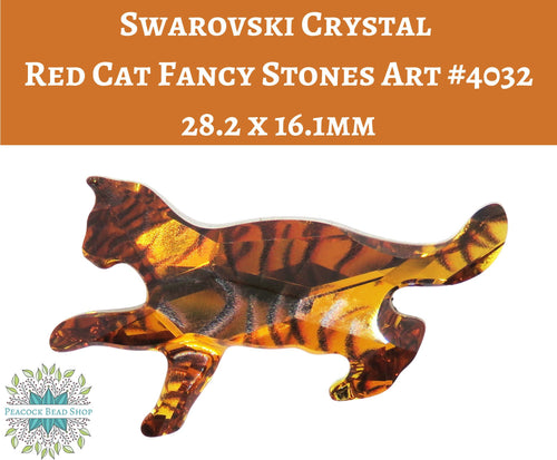 1 pc) Swarovski Crystal Red Cat Fancy Stone_Topaz_Article#4032_28.2 x 16.1mm_Limited Edition