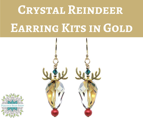 Kit) Crystal Reindeer Earrings Kit_ Goldfill and Vermeil_ Holiday Earring Kit_ Rudolph Earrings Kit