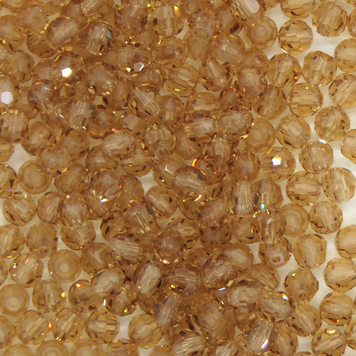 50 beads) 3mm Preciosa Crystal Round Beads_Light Colorado Topaz_