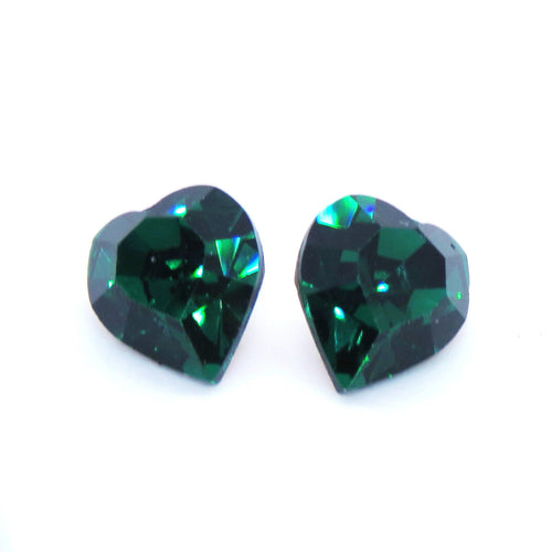 2 pcs) 8.8x8mm Vintage 80s Swarovski Crystal Heart Rhinestones_#4800_Emerald Gold Foil Backed