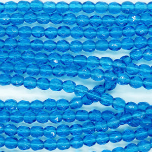 50 beads) 4mm Czech Firepolish Faceted Round Beads_Capri Blue
