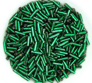 8 grams) 6mm Toho Bugle Beads_Color #36_Silverlined Emerald Green_Japanese