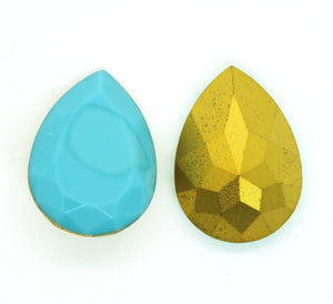 1 pc) 18x13mm Vintage 1970s Swarovski Pear_Turquoise Gold Foil_Rare_#4320 Fancy Stone_Special Production