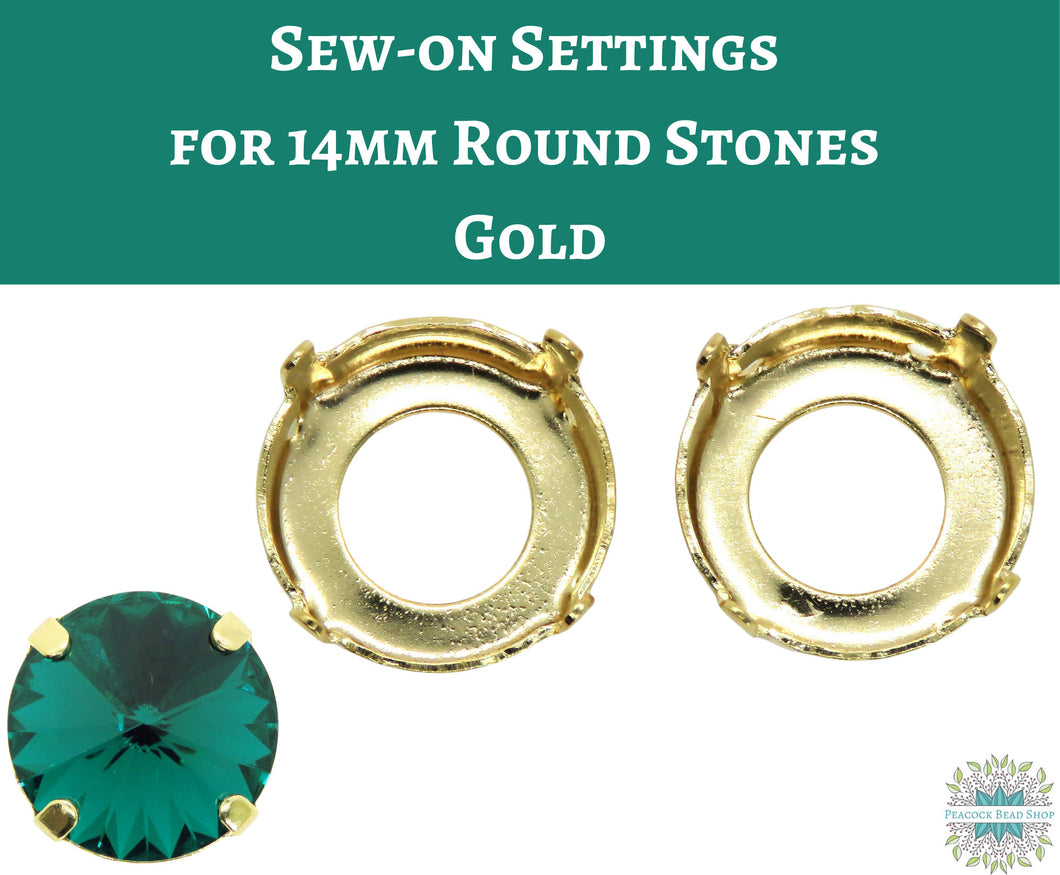 4 pcs_Sew On Settings for 14mm Round Stones_Gold Plate