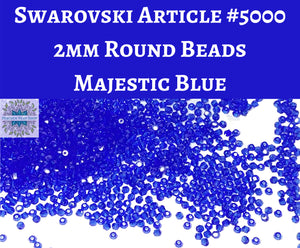 50 beads) 2mm Swarovski Crystal Rounds_Majestic Blue_Article #5000
