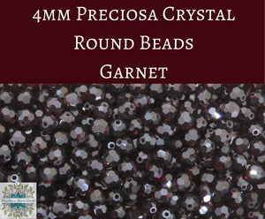 50 beads) 4mm Preciosa Crystal Round Beads_Garnet