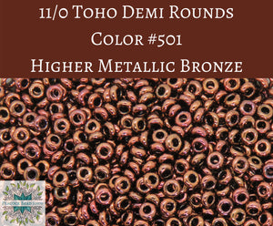 9 grams) 11/0 Toho Demi Rounds_2.2mm_#501 Higher Metallic Bronze