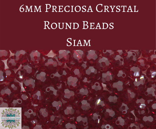 36 beads) 6mm Preciosa Crystal Round Beads_Siam Red