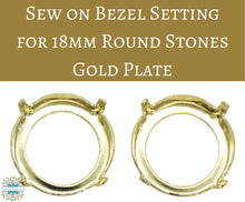 4 pcs) for 18mm Round Stones_Sew on Bezel Settings_Gold Plate