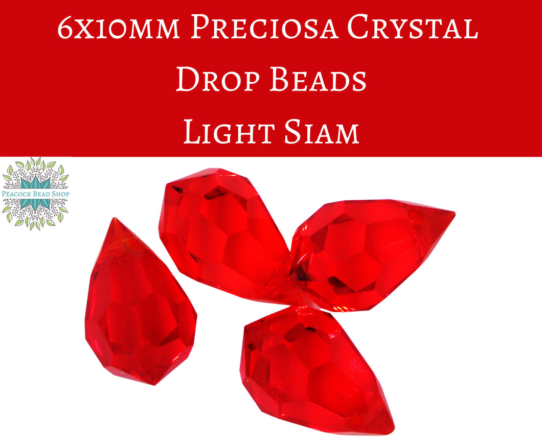 4 beads) 6x10mm Preciosa Crystal Drop Bead Pendants_Light Siam Red