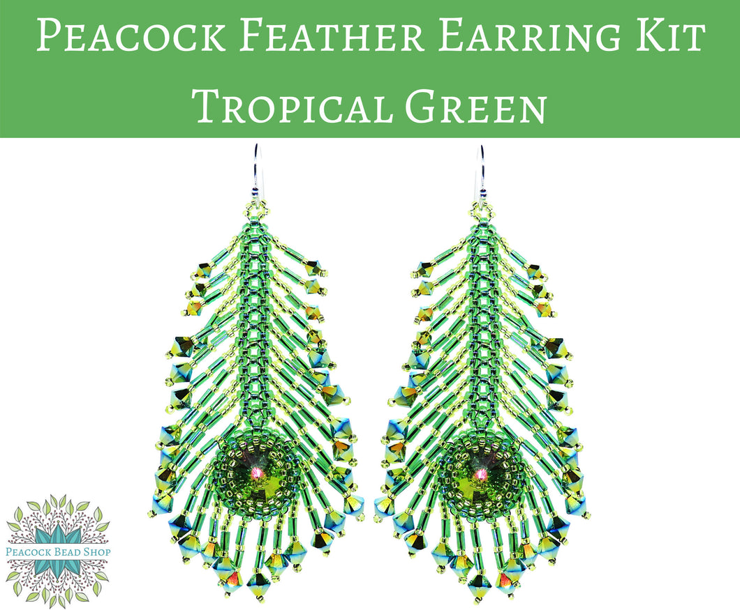 NEW KIT! Peacock Feather Earrings Kit_Tropical Green_Full Kits or Beads Only
