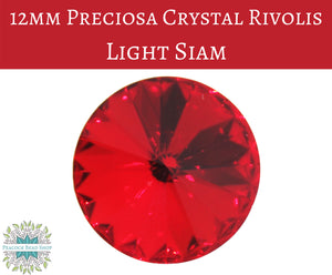 2 pieces) 12mm Preciosa Crystal Rivolis_Light Siam