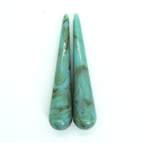 2 pieces) 61mm German Resin Long Drop Pendants_Turquoise Brown Marble