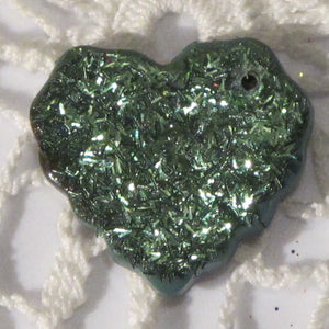 SALE_Green Glitter Heart Pendant_Ernite Green_Polymer Clay Pendant_Handmade