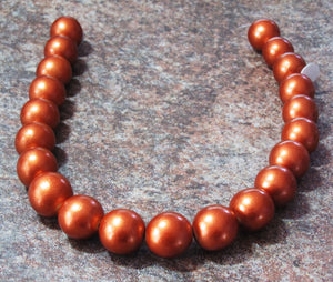 20mm Wood Round Beads_Metallic Orange_21 Beads