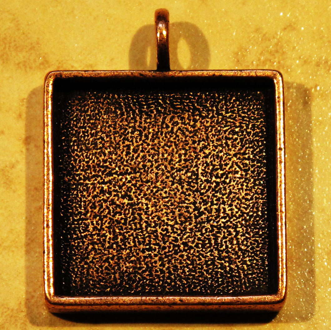 CLOSEOUT_Square Resin Bezel Pendant_1 inch Bezel_Antiqued Copper_Mixed Media_Crystal Clay