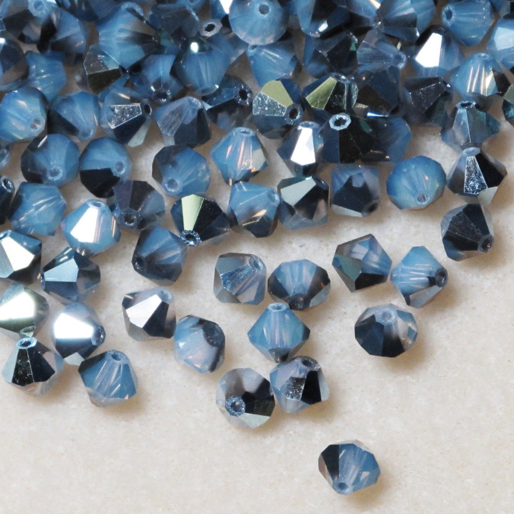 White Opal Starshine 6mm Swarovski Crystal Bicone Beads 36 pcs