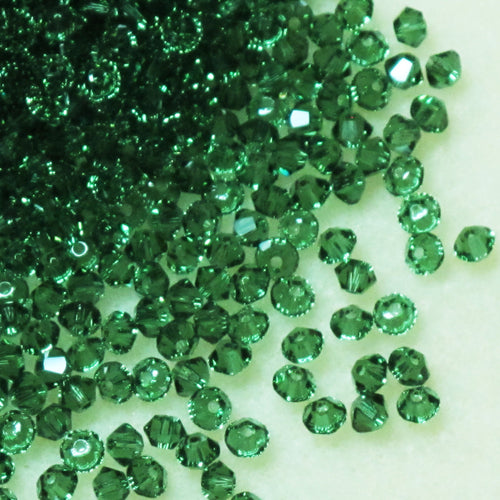 3mm Swarovski Crystal Bicones_Green Turmaline_48 Beads
