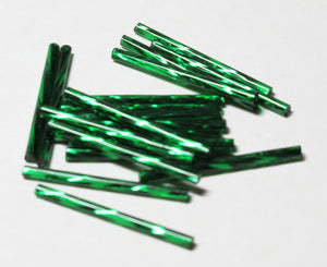 30mm Twisted Bugle Beads_Silver Lined Christmas GREEN_35 Pieces