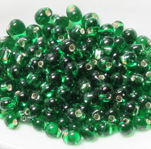 3.4mm Drop Beads_Silver Lined Green_Miyuki #16