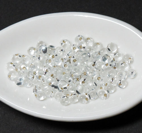 3.4mm Drop Beads_Silver Lined Clear_10 grams