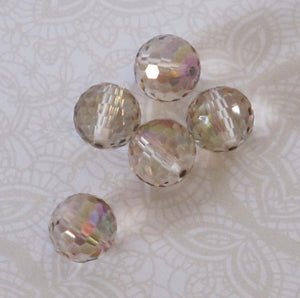 2) 9mm Swarovski Disco Balls_Article #5003_Crystal Water Lily_Champagne_Beige_Purple_Bridal