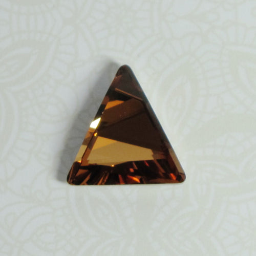CLOSEOUT_Fancy Stone Article #4617  Light Smoked Topaz Swarovski Crystal Louvered Triangle Cabochon 15.5mm