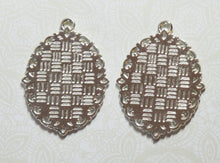 25x18mm Silver Bezels_2 pieces_Filigree Pendant_Jewelry Design_Ornate_Victorian