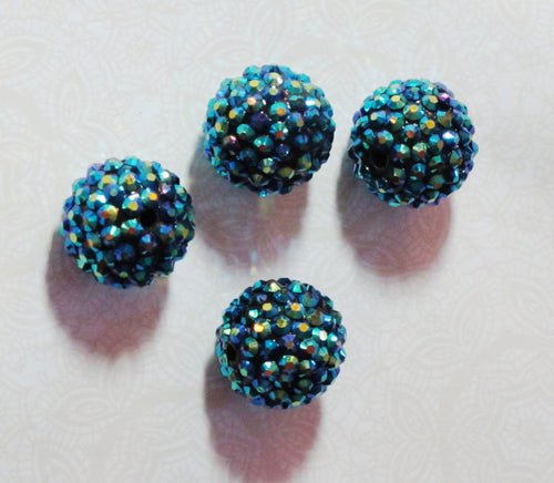 20mm Rhinestone Bling Balls_PEACOCK_4 Beads