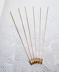 Gold Plated Hat Pins_6 inches long_6 pieces