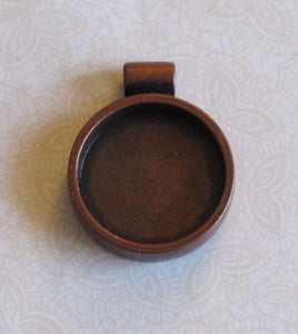 Round Resin Bezel_1 inch Pendant_Antiqued Copper